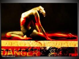 Glas schilderij Lichaam | Rood, Zwart, Goud
