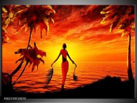 Foto canvas schilderij Afrika | Geel, Oranje, Zwart