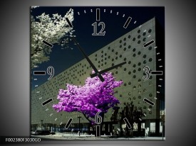 Wandklok op Glas Boom | Kleur: Paars, Grijs, Wit | F002380CGD
