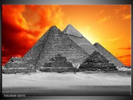 Foto canvas schilderij Piramide | Geel, Grijs, Oranje