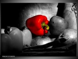 Foto canvas schilderij Groente | Rood, Grijs, Zwart