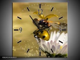 Wandklok op Glas Natuur | Kleur: Geel, Goud, Wit | F002413CGD
