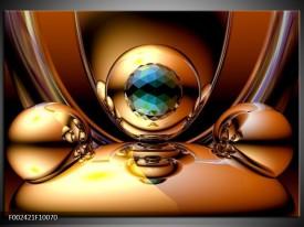 Glas schilderij Abstract | Goud, Blauw, Geel