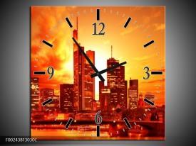 Wandklok op Canvas New York | Kleur: Oranje, Geel, Grijs | F002438C