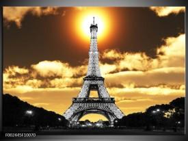 Glas schilderij Parijs   Goud, Geel, Grijs