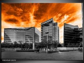 Glas schilderij Gebouw   Oranje, Grijs, Zwart