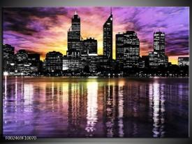 Foto canvas schilderij Uitzicht | Paars, Grijs