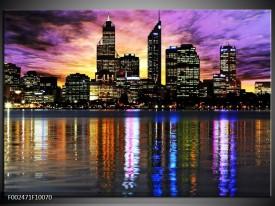 Glas schilderij Uitzicht | Paars, Geel, Oranje