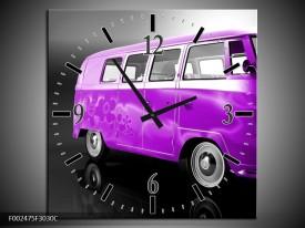 Wandklok op Canvas Auto | Kleur: Paars, Zwart, Grijs | F002475C