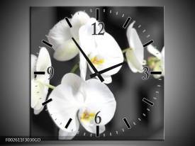 Wandklok op Glas Orchidee | Kleur: Zwart, Wit, Grijs | F002611CGD
