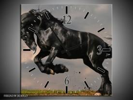 Wandklok op Glas Paarden | Kleur: Zwart, Wit, Grijs | F002619CGD