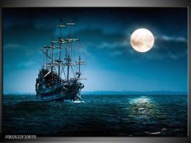 Glas schilderij Boot | Blauw, Wit, Zwart