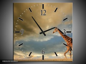 Wandklok op Glas Giraffe | Kleur: Bruin, Grijs, Blauw | F002635CGD