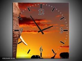 Wandklok op Canvas Olifant | Kleur: Bruin, Geel, Oranje | F002644C