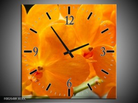Wandklok op Canvas Orchidee | Kleur: Oranje, Geel | F002648C