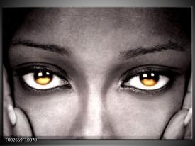 Glas schilderij Ogen | Zwart, Oranje