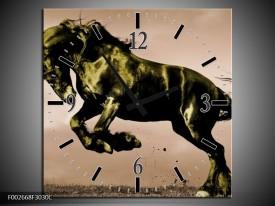 Wandklok op Canvas Paard | Kleur: Bruin, Groen, Zwart | F002668C