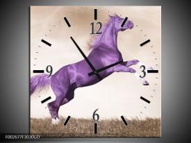 Wandklok op Glas Paard | Kleur: Paars, Sepia | F002677CGD