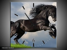 Wandklok op Glas Paard | Kleur: Zwart, Groen, Wit | F002681CGD