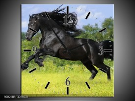 Wandklok op Glas Paard | Kleur: Zwart, Groen, Blauw | F002685CGD