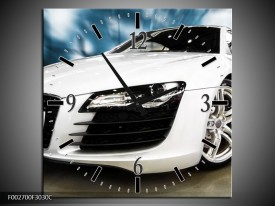 Wandklok op Canvas Audi | Kleur: Zwart, Wit, Blauw | F002700C