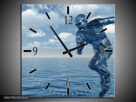 Wandklok op Glas Water   Kleur: Wit, Blauw   F002705CGD