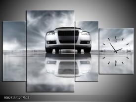 Klok schilderij Audi | Wit, Grijs, Zwart | 120x75cm 4Luik
