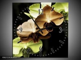 Wandklok op Glas Orchidee   Kleur: Groen, Bruin, Zwart   F002723CGD