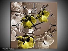 Wandklok op Glas Orchidee | Kleur: Groen, Bruin | F002745CGD