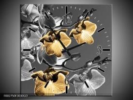 Wandklok op Glas Orchidee | Kleur: Zwart, Oranje, Grijs | F002750CGD