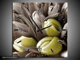 Wandklok op Glas Orchidee | Kleur: Bruin, Groen, Zwart | F002755CGD