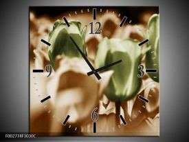 Wandklok op Canvas Tulpen | Kleur: Bruin, Groen, Wit | F002774C
