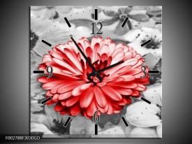 Wandklok op Glas Gerbera | Kleur: Grijs, Rood | F002788CGD