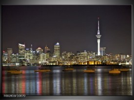 Foto canvas schilderij Uitzicht | Grijs, Blauw, Geel
