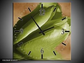 Wandklok op Glas Tulpen   Kleur: Groen, Bruin   F002868CGD