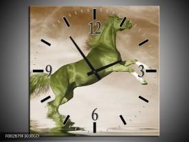 Wandklok op Glas Paard | Kleur: Groen, Sepia, Bruin | F002879CGD