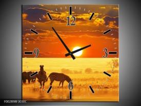 Wandklok op Canvas Zebra | Kleur: Geel, Oranje, Bruin | F002898C