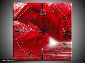 Wandklok op Canvas Roos | Kleur: Rood, Grijs, Wit | F002909C