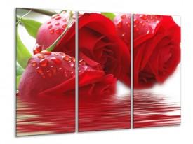Glas schilderij Roos | Rood, Grijs, Wit | 120x80cm 3Luik