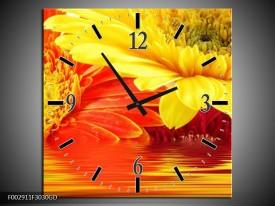 Wandklok op Glas Gerbera   Kleur: Geel, Oranje   F002911CGD