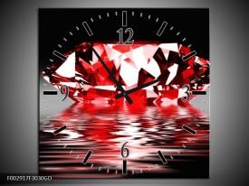 Wandklok op Glas Steen | Kleur: Rood, Wit, Zwart | F002917CGD