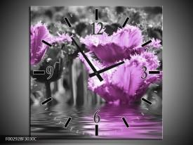 Wandklok op Canvas Tulpen | Kleur: Zwart, Paars, Grijs | F002928C
