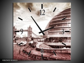 Wandklok op Glas London | Kleur: Grijs, Wit | F002941CGD