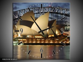 Wandklok op Glas Sydney | Kleur: Grijs, Blauw, Wit | F002974CGD