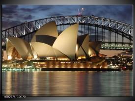 Glas schilderij Sydney   Grijs, Blauw, Wit