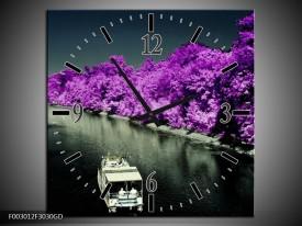 Wandklok op Glas Boot   Kleur: Paars, Zwart, Grijs   F003012CGD