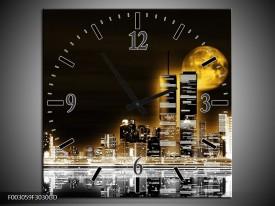 Wandklok op Glas Nacht | Kleur: Geel, Bruin, Zwart | F003059CGD