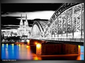 Foto canvas schilderij Brug | Grijs, Bruin, Blauw