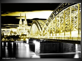 Foto canvas schilderij Brug | Zwart, Goud, Groen