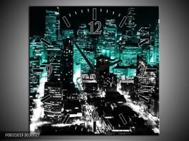 Wandklok op Glas Nacht | Kleur: Bruin, Groen, Zwart | F003101CGD